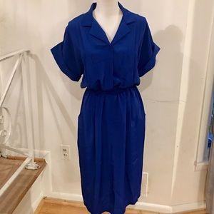 Vintage 80s Luci Fellini Blue Dress Size 12
